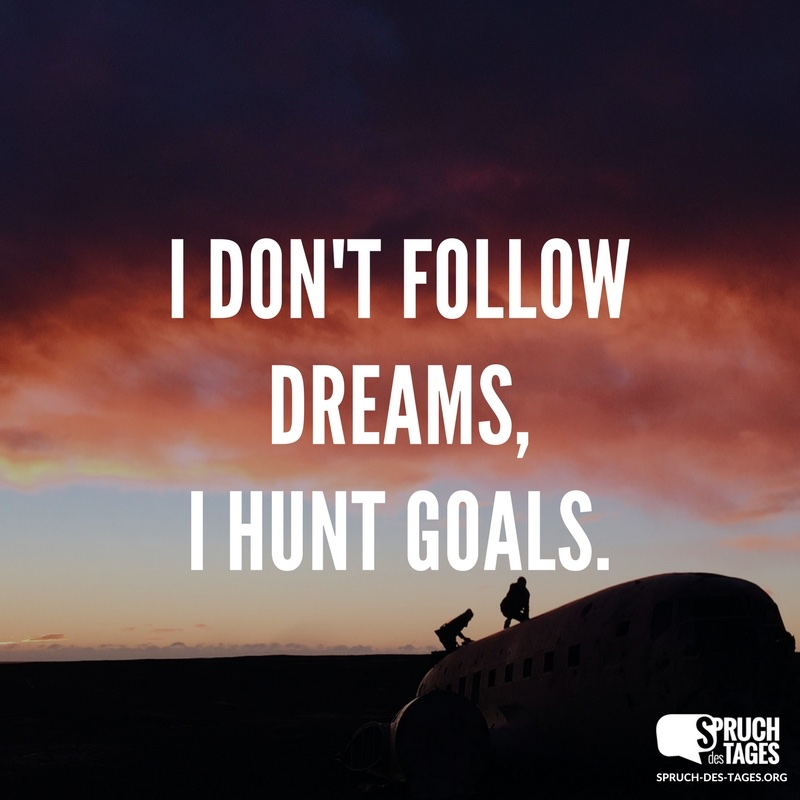 I don't follow dreams, I hunt goals.