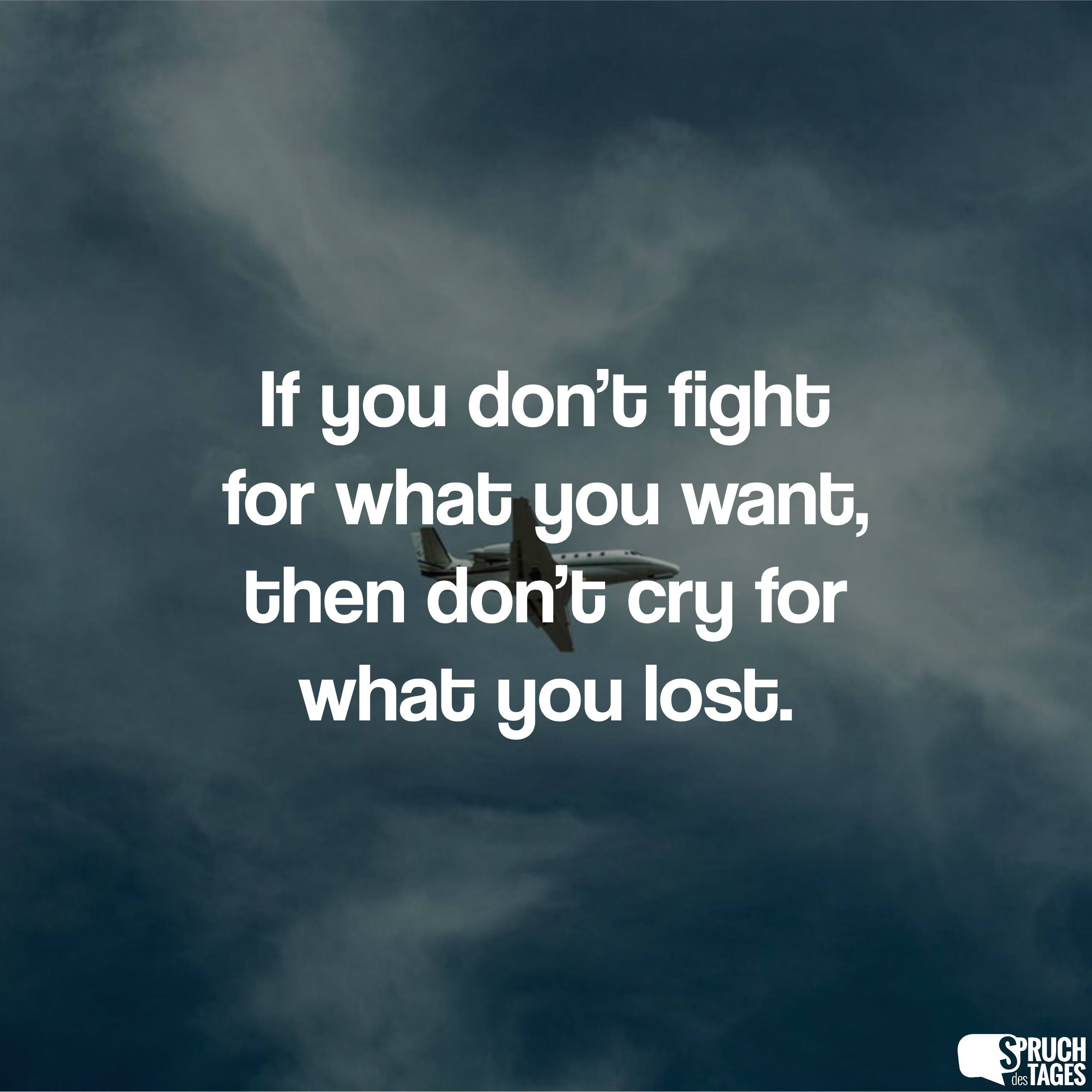 If You Dont Fight For What You Want Then Dont Cry