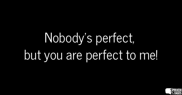 Nobody's perfect, but you are perfect to me!