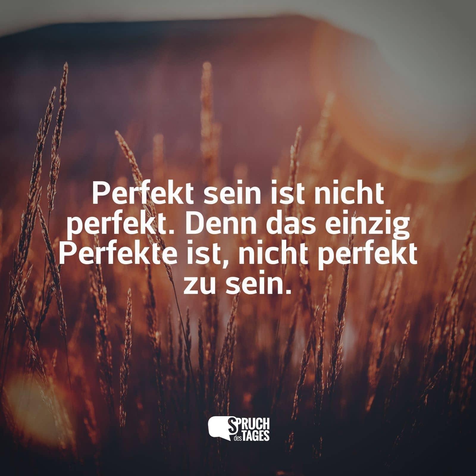 Perfekt Sein Ist Nicht Perfekt Denn Das Einzig Perfekte Ist Nicht